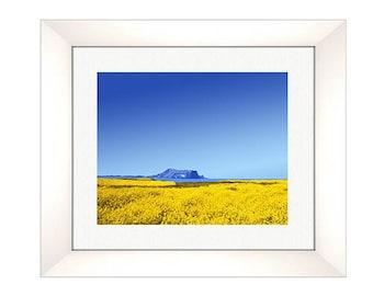 yellow blue Mountain sky Print, Abstract Landscape Print, Mid Century Modern, Modern Abstract Art, Landscape Wall Art- One Print