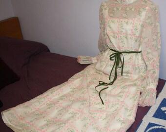 Maxi Dress 1970s Pink Roses Sheer Angelair by Monika