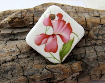 Sweet Pea Square Rose Pink Ceramic Pendant