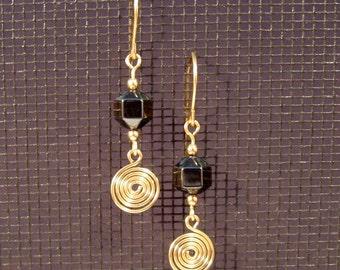 Gold-filled Hematite Swirl Earrings