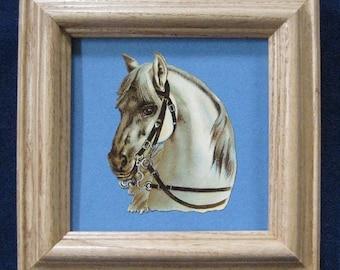 Vintage Horse White Horse Equestrian Victorian Scrap Die Cut