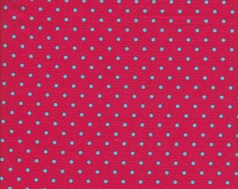 Lecien Japanese Import Color Basic Small Dot in Aqua on Red - End of Bolt - Last 27 Inches