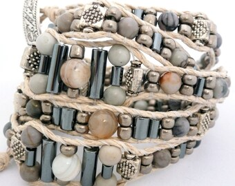 Handmade Five Wrap Hemp Wrap Bracelet with Gray Agate, Hematite Barrels, and Silver-Tone Accent Beads