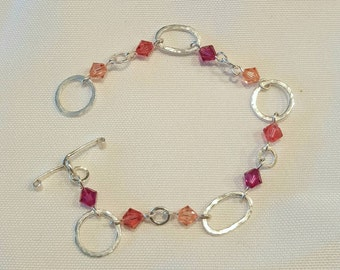Valentine's Day GIft - Rose Pink Peach Hammered Silver Link Bracelet -  Cyberlily