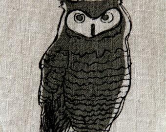 "Screenprint / Linocut print - 5"" x 7"" Who Owl Fabric Print - Army Green"