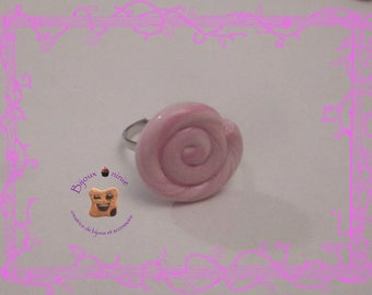Ring child pacifier rolled rose Fimo