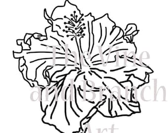 Hibiscus Line Drawing for Maker Machines