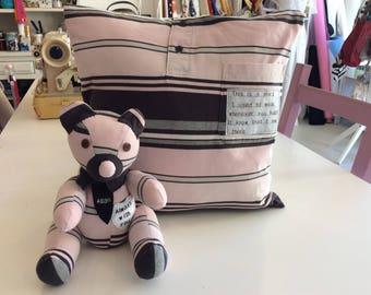 Memory Cushion and matching small Memory Bear.