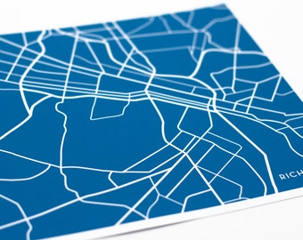 Richmond, VA City Map Wall Print / VCU University Art / 8x10 / Choose your color