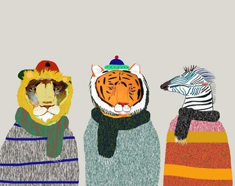 Winter Animals. Illustration Art Print., Animal Poster, Kids Print.