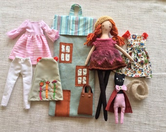 Doll in house bag, Handmade cloth doll , doll with toy cat, doll with clothes ,  dress up doll, rag doll, travel toy, doll in bag