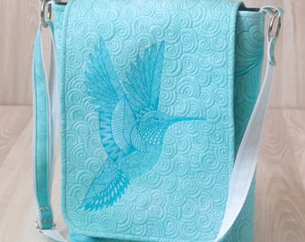 "Bag ""Hummingbird"". Turquoise shoulder bag. Crossbody Bags - Handmade. Womans Handbag. Quilted bag"