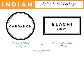INDIAN SPICES printed labels precut package modern round rectangle