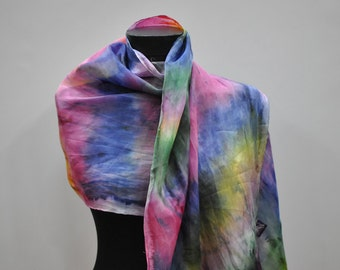 Vintage HANDMADE silk scarf , hand dyed scarf , hand rolled ....(602)