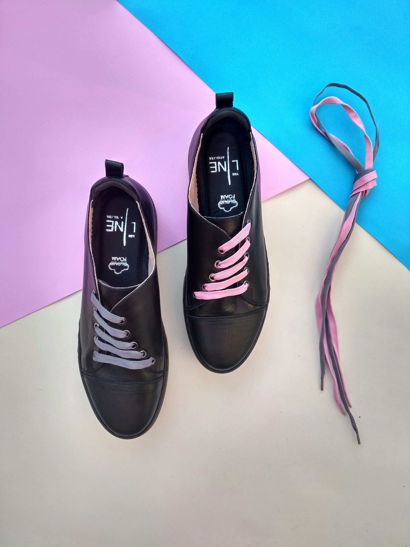 Minimalistes Sur S Cuir Chaussures En Mesure Basket Noir YTS1UWFf