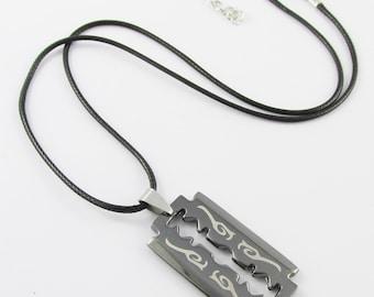 Gunmetal Razor Blade Charm Necklace Black Cord 48cm