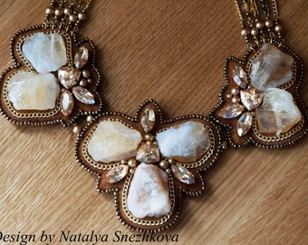 Necklace  Citrine with Swarovski crystal and pearl