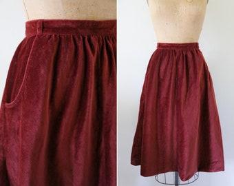 Vintage Cotton Crimson High Waisted Midi Skirt // Soft Corduroy Maroon Skirt