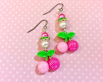 Adorable Pink Polka Dot Cherries Topped and Girlie Pearls and Rhinestones Novelty Earrings with Surgical Steel Ear Wires, KreatedbyKelly