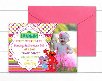 Girly Elmo Invitation feat. Abby Cadabby