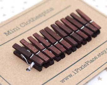 Mini Clothespins - Set of 12 - Chocolate Brown