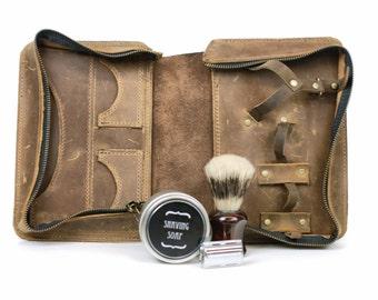 Shaving Kit Dopp Kit Toiletry Bag Mens Shaving Kit Mens Gift Personalized Gift Anniversary Gift for Dad Grooming Wet Shaving Vintage Shave