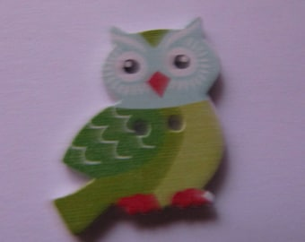 wooden OWL 27mmx22mm sewing or scrapbooking