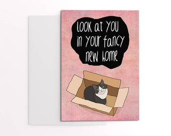 New home card for cat lover - cat in box greeting cards - cat cards for cat people - new home gift - housewarming card - funny new home.