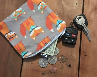 Daddy Gift Idea, Fox Coin Purse, Men Coin Pouch, Fox Wallet, Daddy Gift from Bump, Ear Bud Cord Keeper, Business Card Holder