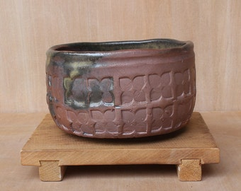 Rustic hand made anagama fired chawan with custom texture