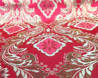 Red / Gold Metallic Floral Brocade Fabric