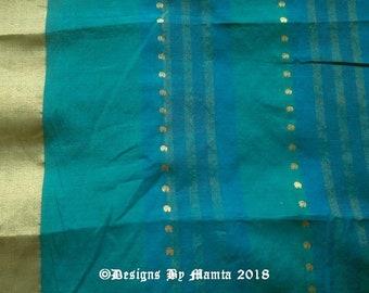 Teal Green Indian Art Silk Sari Fabric, Saree Fabric By The Yard, Turquoise Ethnic Fabric, Indian Sari Fabric, Teal Blue Border Print Fabric