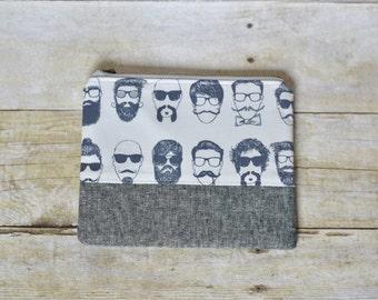 Hipster zipper pouch - zipper pouch -small pouch -beards pouch - gray linen pouch - gifts for her -makeup bag - small wallet