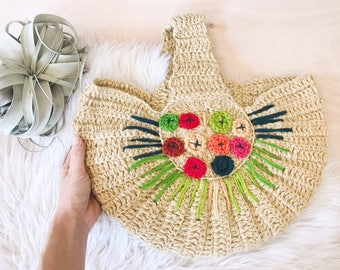 Vintage Woven Jute Handbag with Embroidered Floral / Woven Purse with Floral / Macrame Purse