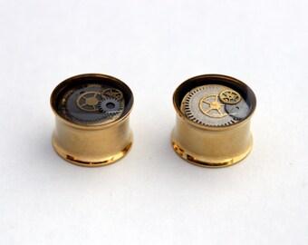 14mm Steampunk Ear Plugs / Steampunk Ear Tunnels / Double Flare Tunnels / 9/16'' Gauge. Pair.