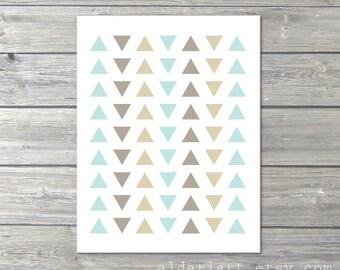 Simple Triangles  - Digital Print - Pastel Tribal Modern Home Decor - Mint Blue Taupe Tan - Southwestern - Geometric Poster Under 20