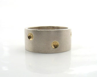 Inebriated Bowls on a Band - matte silver band with gold bowls (OOAK ring)