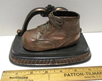 Bronzed Baby Shoe Vintage High Top Bookend Paper Weight Bronze Metal Brass Finish Desk Accessory Lace Up Baby Shoes Iron