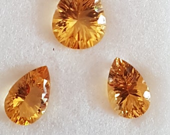 3 Pieces of CITRINE PEARS FACETTED Conclave Cut
