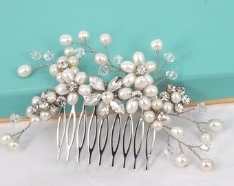Élyséen - Freshwater Pearl  and Rhinestone Bridal Hair Comb