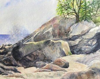 Original Watercolor Painting Sandy Rocky Shore & Breaking Waves On Sunny Day With Sunlit Colored Rock, Green Trees by Janet Dosenberry