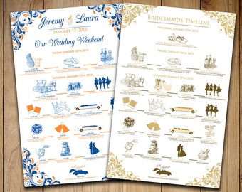 Wedding Timeline - Wedding Itinerary Order of Events - Wedding Party Timeline Wedding Weekend - Guest Itinerary - You Print or We Print