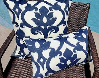 IKAT Richloom Solarium Basalto Navy Blue Ivory Decorative Outdoor Pillow Cover 16x16 18x18 20x20 22x22 16x12,18x12 more sizes with Zipper