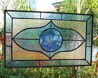 Vintage Mexican Fortecrisa Plate, Antique Stained Glass Transom Window, Stained Glass Valance, Cobalt Blue & Iridescent Window Treatment