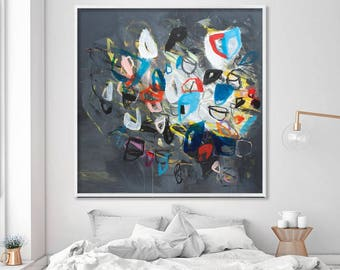"Große Wand-Kunst der abstrakte Acrylmalerei Fine Art Giclée-Druck bis zu 40 x 40"" grau modernen Malerei"