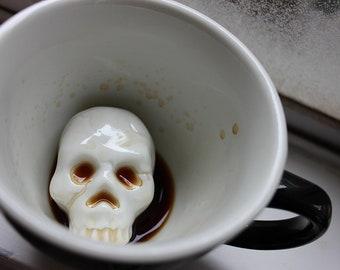 Skull Mug by CREATURE CUPS | Hidden Skulll Cup | Black Ceramic Mug | Holiday and Birthday Gift for Coffee & Tea Lovers