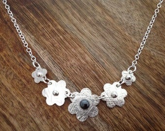 Handcrafted Gemstone Five Daisy Sterling Silver Necklace, Flower Necklace, Daisy Necklace, Silver Jewellery, Sterling Silver Jewellery