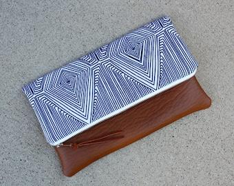Blue Linea Nate Berkus fabric Foldover Clutch / Kindle Case