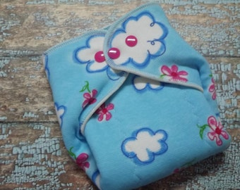 Organic Cotton Winged Prefold-- Clouds and Pink Daisies