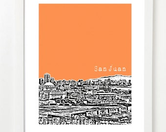 San Juan, Puerto Rico Skyline Poster - City Skyline Series Art Print - San Juan Art